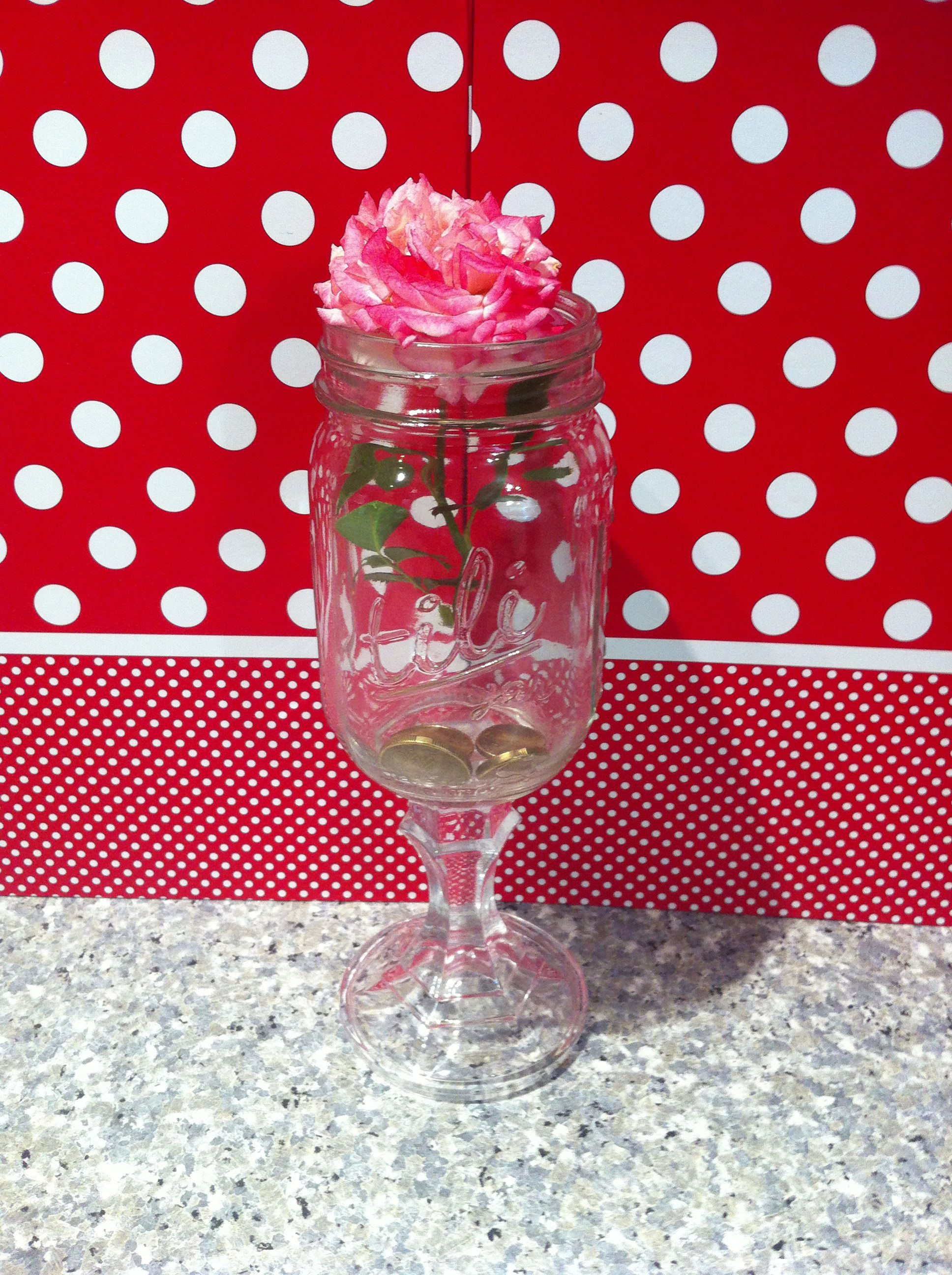 My Generosity Jar One Of My First Aunt Tili Jars Glassware Wine Glass Jar