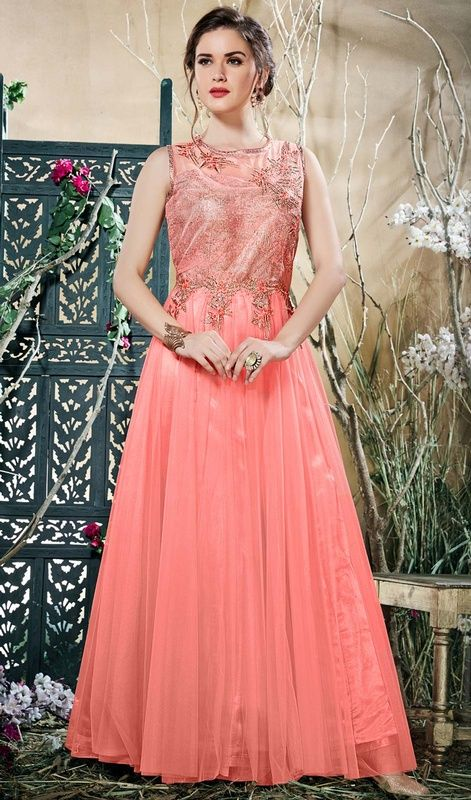 079af3cad Peach Color Shaded Embroidered Net Gown
