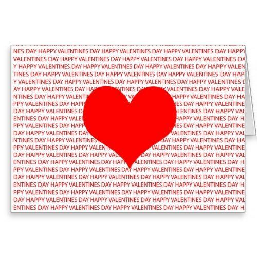 Gorgeous Valentines Day Card  text based design with a big red