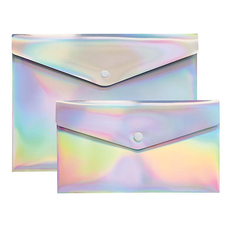 Rainbow foil envelope case, resume holder, Cute girl stationery - envelope for resume