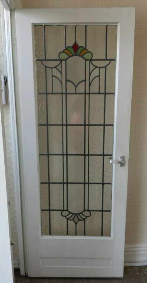 Old Original 1930s Stained Glass Internal Door Kitchen Ideas In