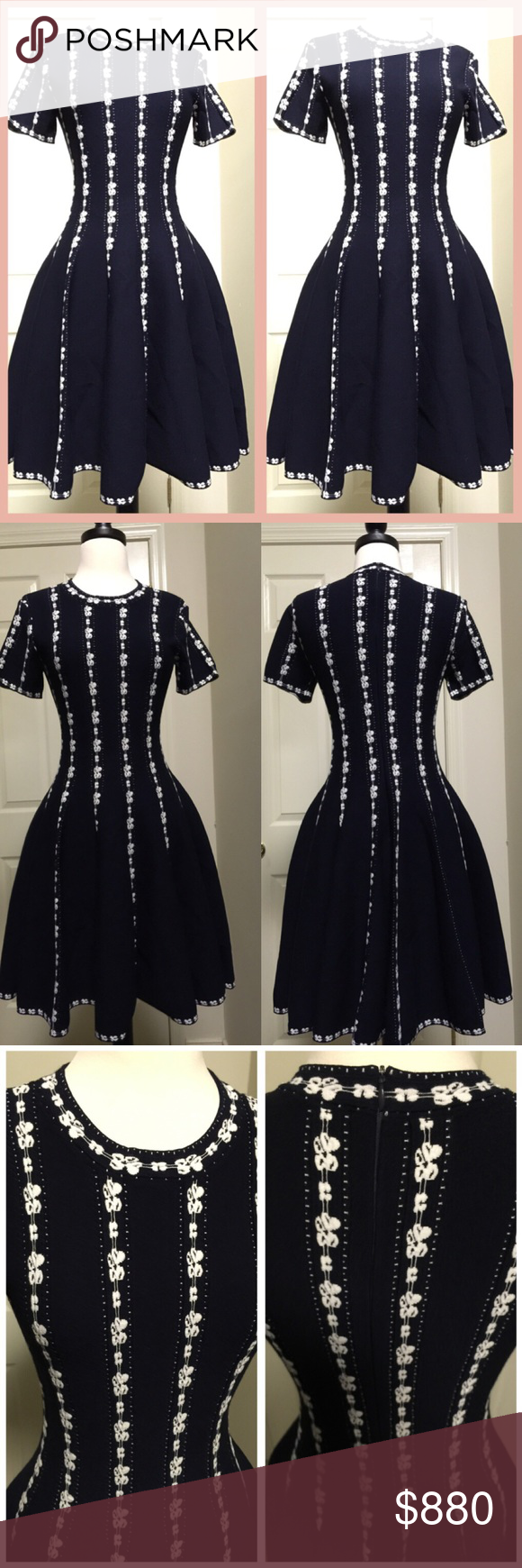 c5701344153 NEW Alaia short sleeve dress 40 Up For sale is a new gorgeous ALAIA stretch  knit fit and flare dress in size 40. Color navy (size and care tag damaged)  ...