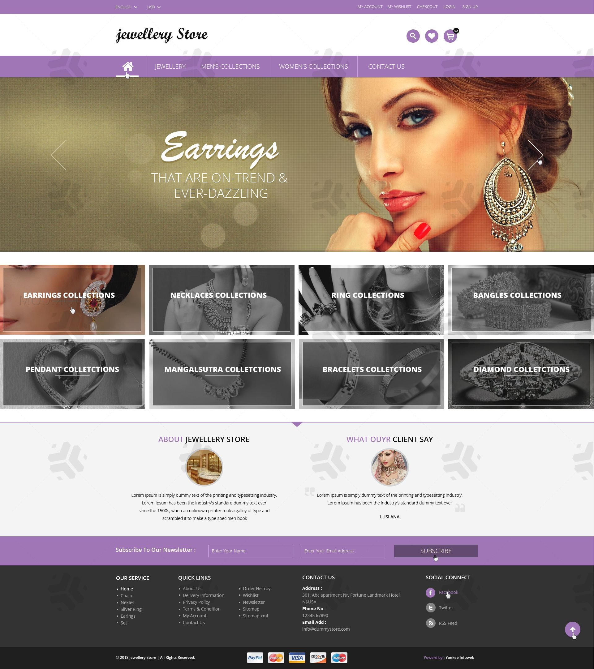 Jewellery Store Landing Page PSD Design !! Features: - 1170