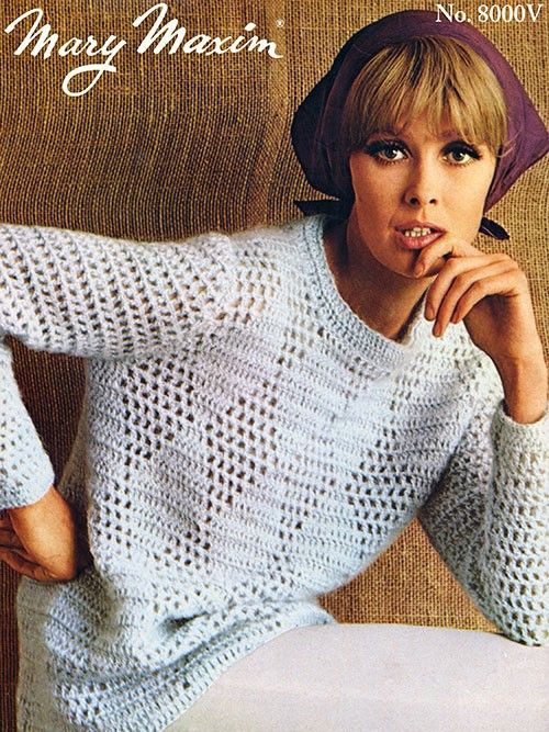 Create a stunning vintage look with this crochet pullover. 4 Medium ...