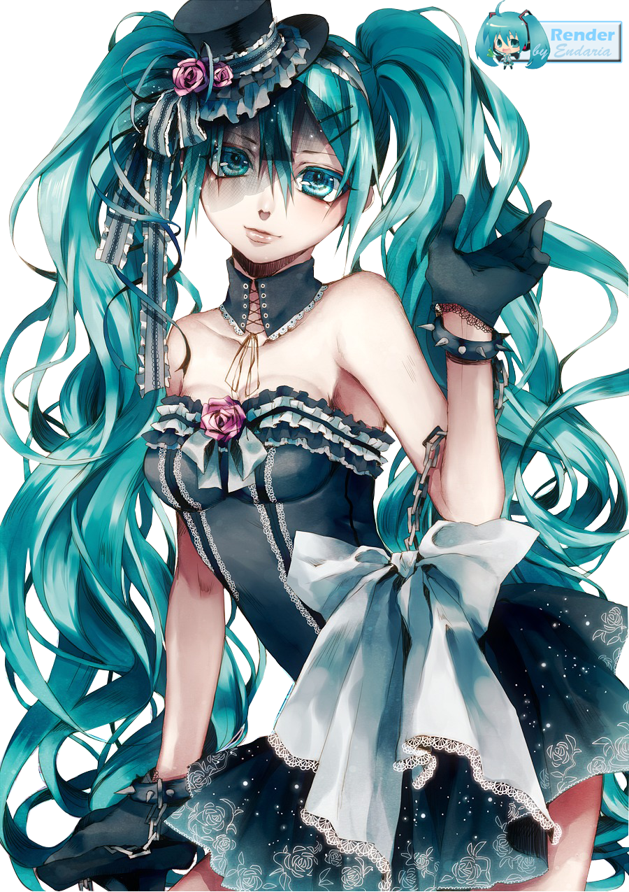 Hatsune miku render by endaria anime vocaloids pinterest manga anime and manga gothique - Personnage manga fille ...