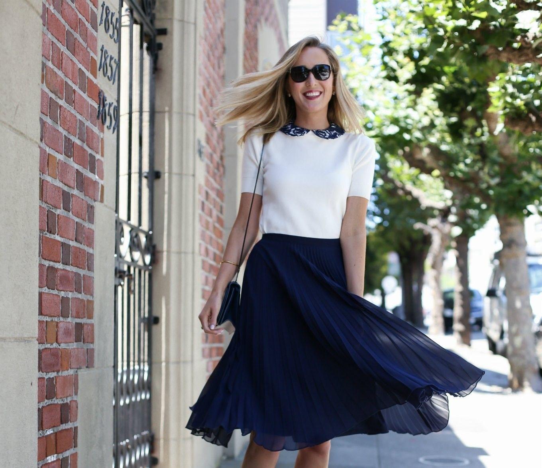 navy pleated midi skirt ivory short sleeve sweater | Love ...