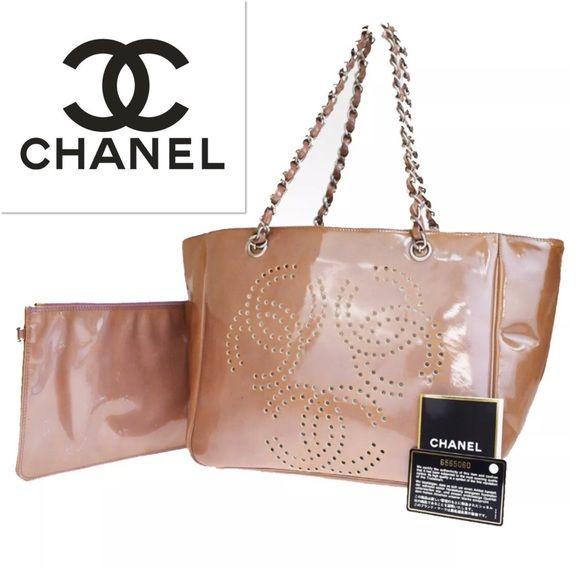 👜Chanel Brown Triple Chain Shoulder Bag Leather Chanel CC Brown Patent Leather  Triple Silver Chain 9177f62ffbfd9