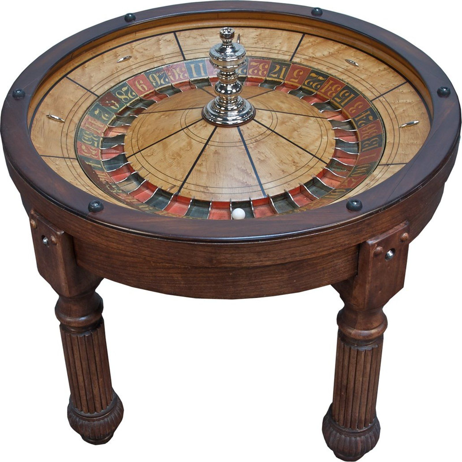 HC Evans Co Antique Roulette Wheel Coffee Table on Table