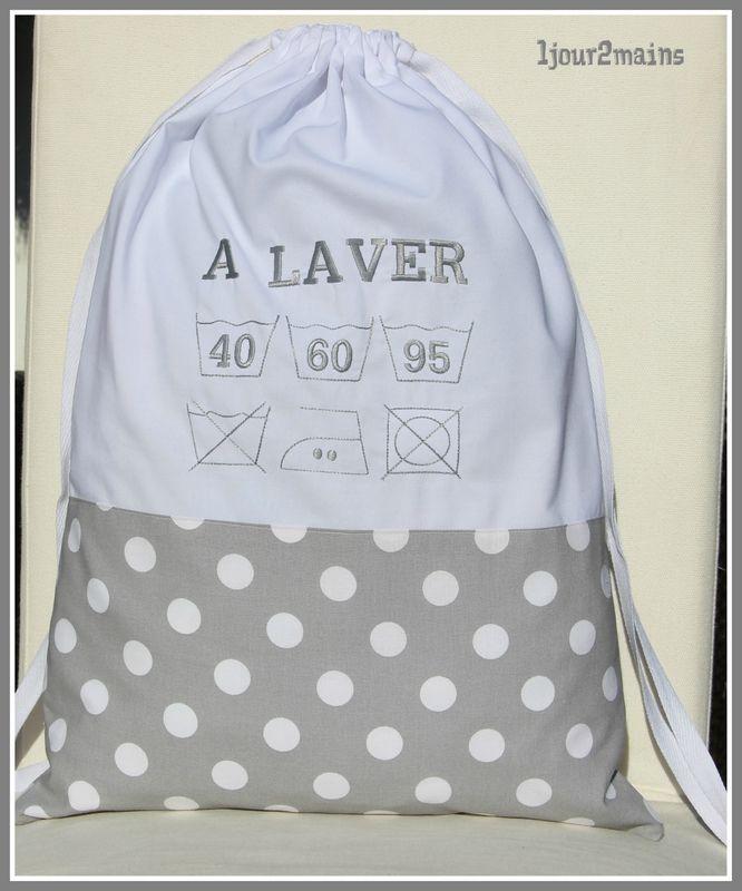 sac linge a laver pois sac trousse panier pinterest linge sac et broderie machine. Black Bedroom Furniture Sets. Home Design Ideas