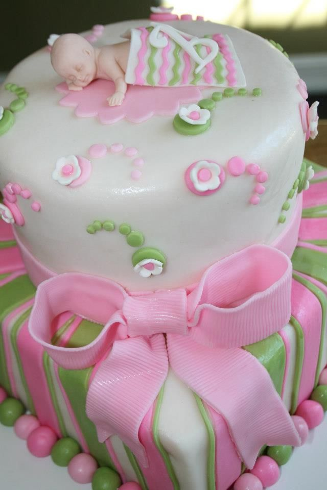 2 Tiered Pink And Green Baby Shower Cake Baby Shower Cakes