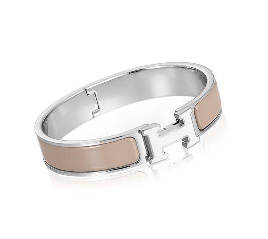 fa02b4e962 Clic H Bracelet en émail blanc/marron glacé et palladié (diamètre : 6,5 cm)