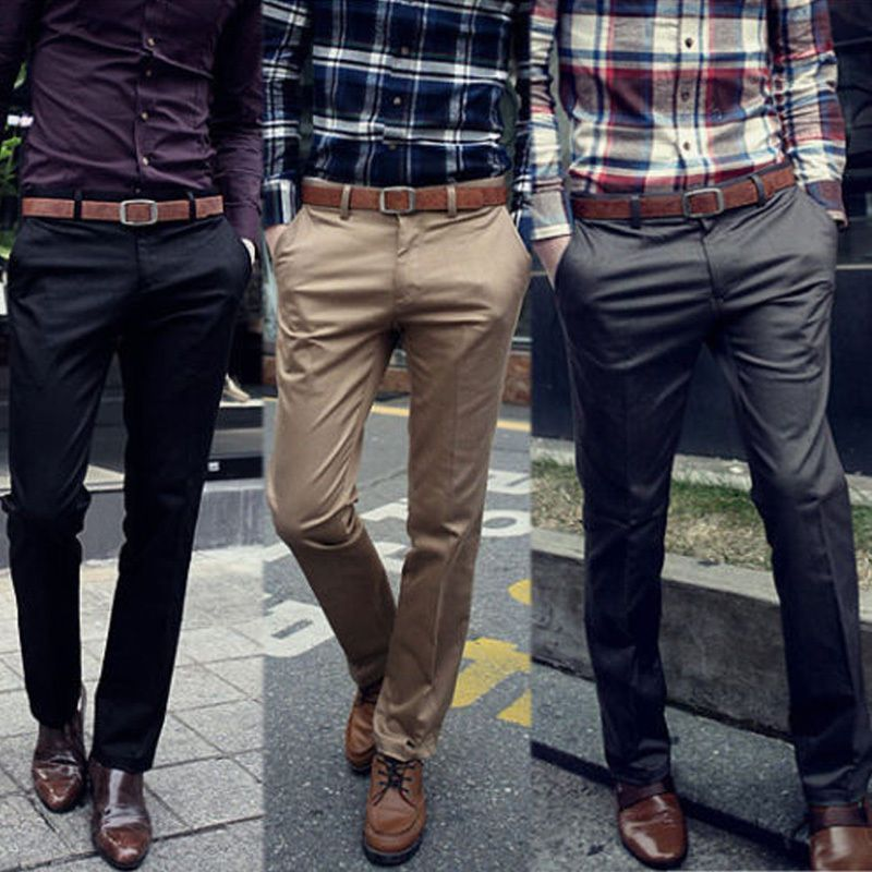 Mens Straight Leg Long Pants Pencil Trousers Work Casual Slim Flat Front Formal