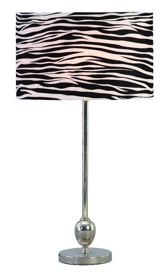 Exotic Safari Metal Table Lamp Silver Stand Zebra Pattern Lighting Decor |  Lamp | Lighting,