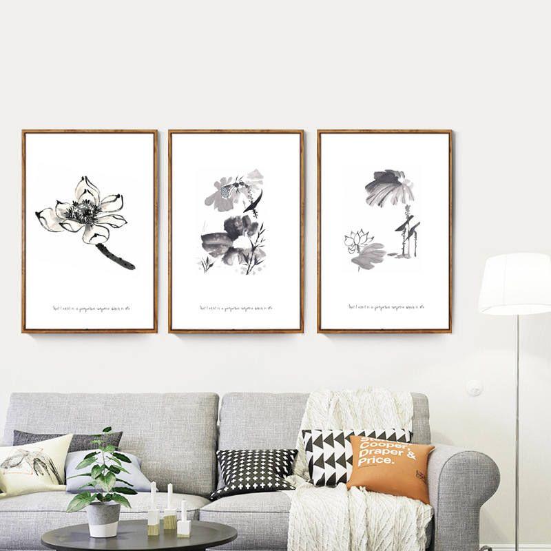 3 Sets Of Chinese Ink Zen Lotus Print On Canvas Lotus Flower Yoga