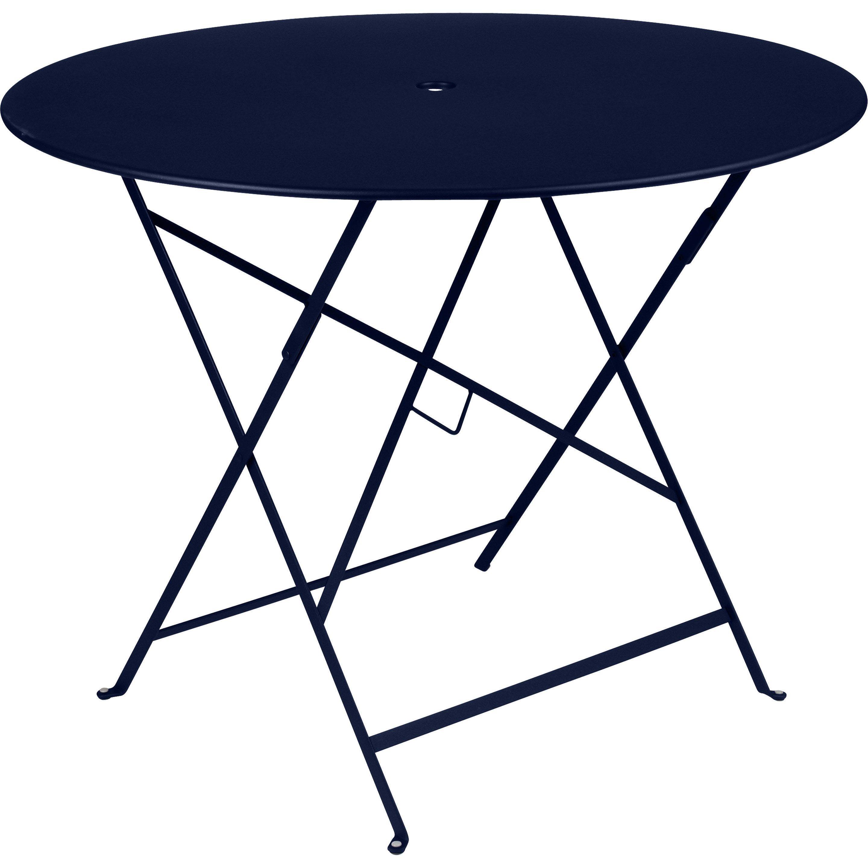 Table de jardin de repas FERMOB Bistro ronde bleu abysse 4 ...