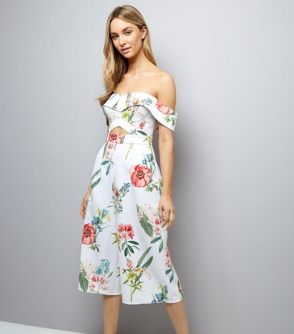 2cec61d11fe White Floral Print Bardot Neck Culotte Jumpsuit