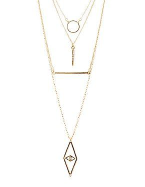 Layered Geometric Charm Necklace: Charlotte Russe