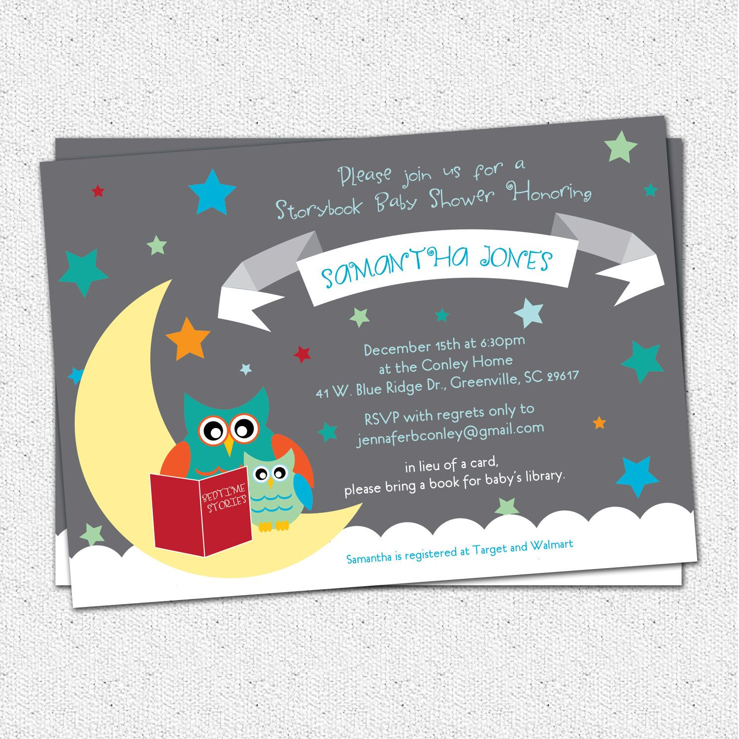 Baby Shower Invitation Printable Story Book Themed mom and baby