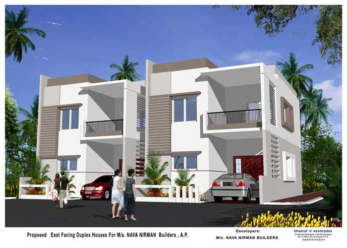 Duplex house designs in hyderabad arch semi detached for Duplex townhouse designs