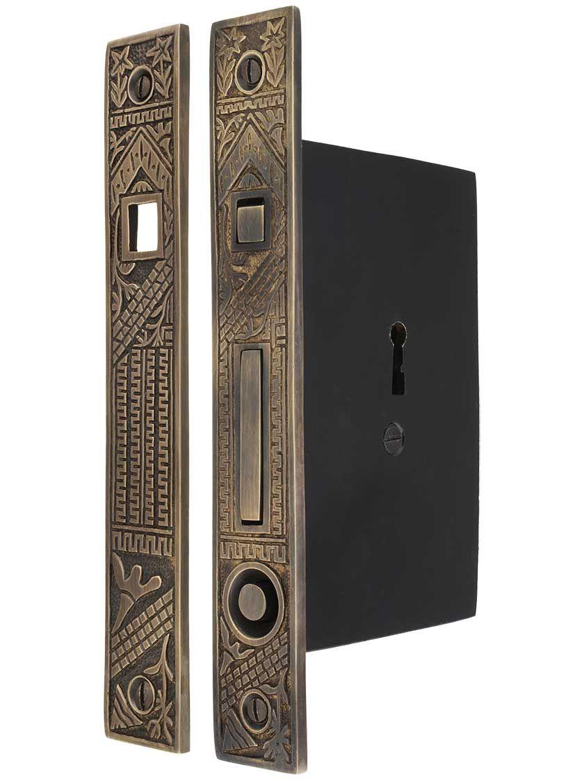 Oriental Bit Key Single Pocket Door Mortise Lock Antique By Hand