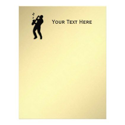 Golden Saxophone Player Personal Letterhead - golden gifts gold - personal letterhead