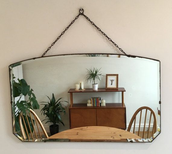 Vintage bevelled edge mirror on chain  mid Century by byBenShop