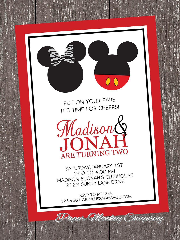 Mickey and Minnie Mouse Birthday Invitation   Birthday   Pinterest ...