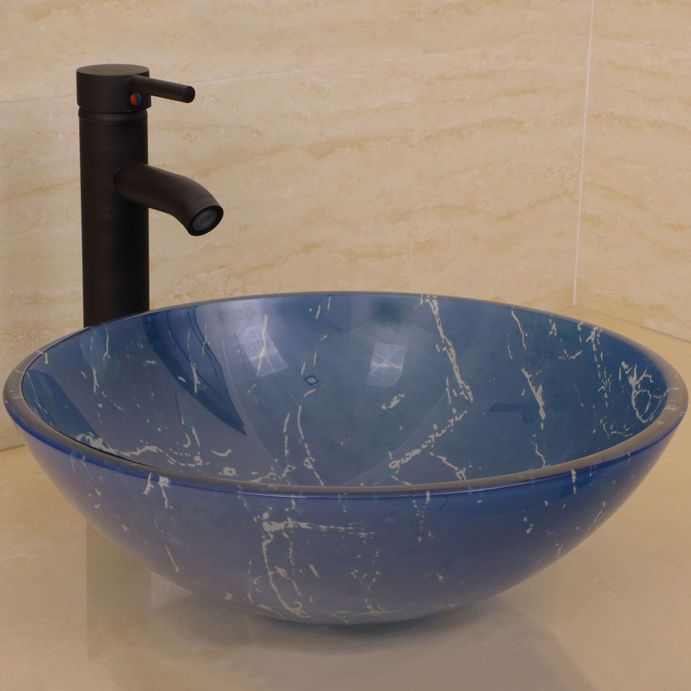Bathroom Glass Vessel Sink Artistic Style W Orb Faucet Pop Up