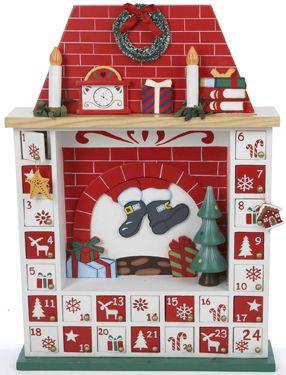 Christmas Fireplace Wooden Advent Calendar   Wooden Advent Calendars   Vermont Christmas Co. VT Holiday Gift Shop