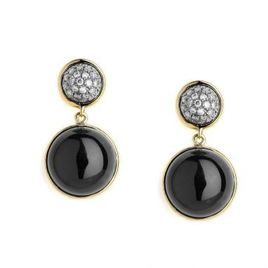 Syna 18kt Earrings With Black Onyx and Diamonds nODcF