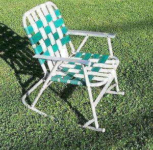 Vintage Aluminum Webbed Folding Rocker Lawn Chair Rocking Chair Green White
