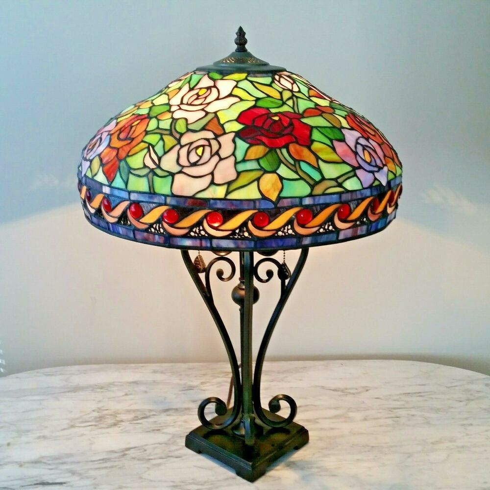 Vtg Tiffany Style Floral Stained Glass Table Lamp Large 26 Mint Unknown Victorian Glass Table Lamp Table Lamp Stained Glass Table Lamps