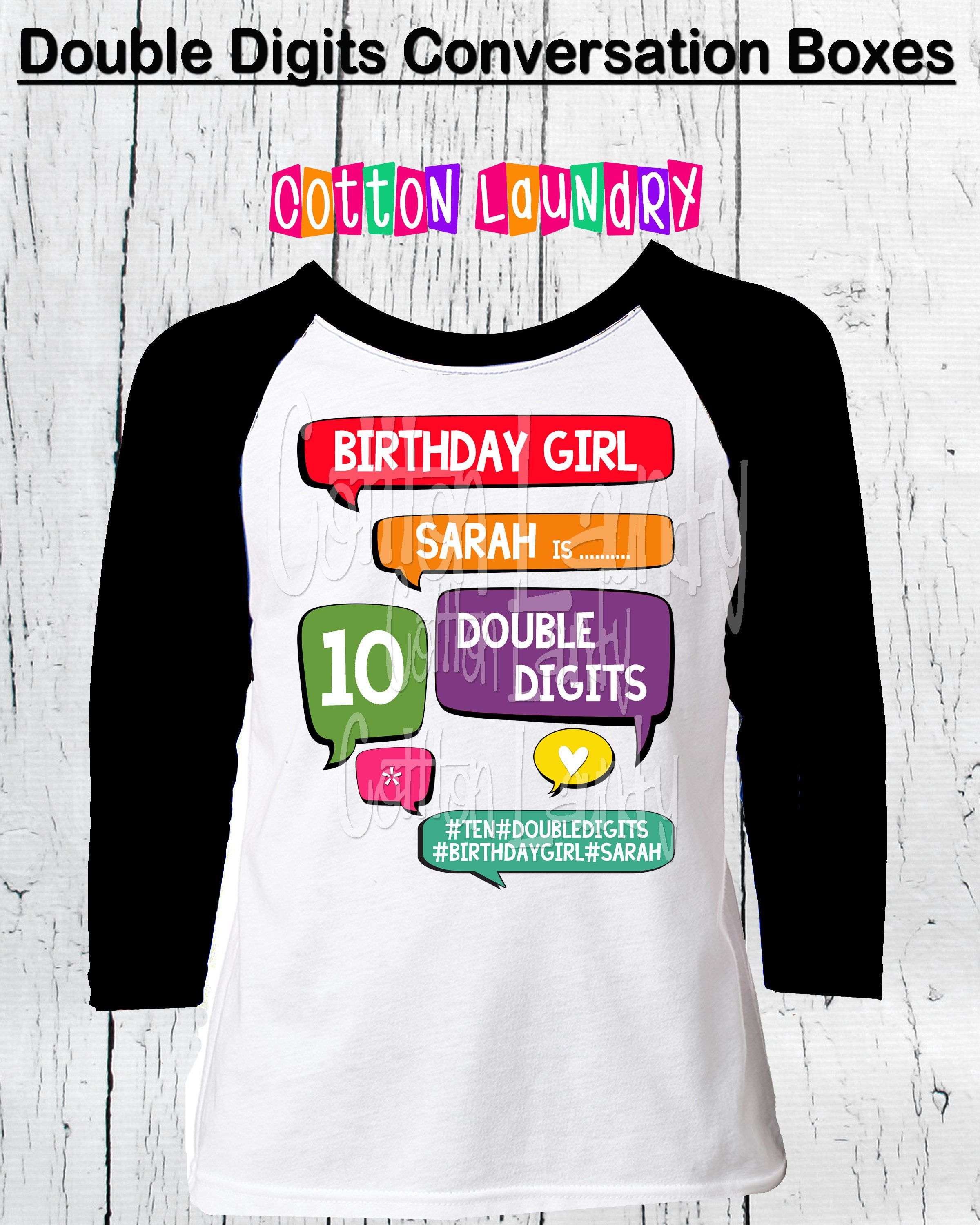 DOUBLE DIGITS 10thTenth Birthday Girls 10 Year Old Raglan Baseball Style Tee Shirt Girl Hearts 10th Day By CottonLaundry On Etsy