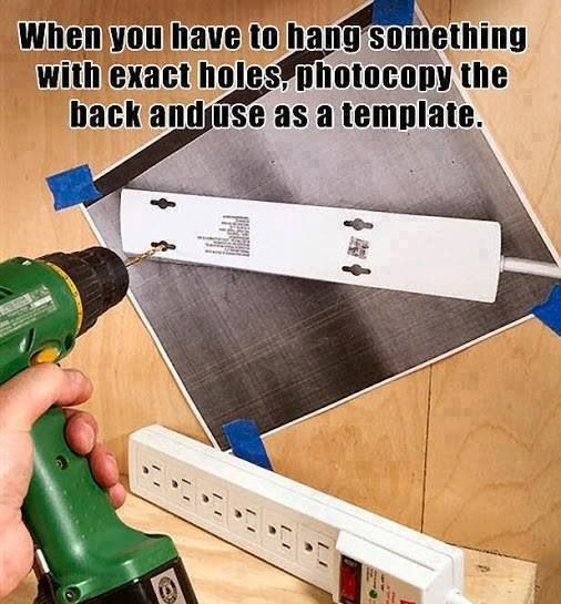 Handy tip - how to drill exact holes on the wall to hang up a fixture