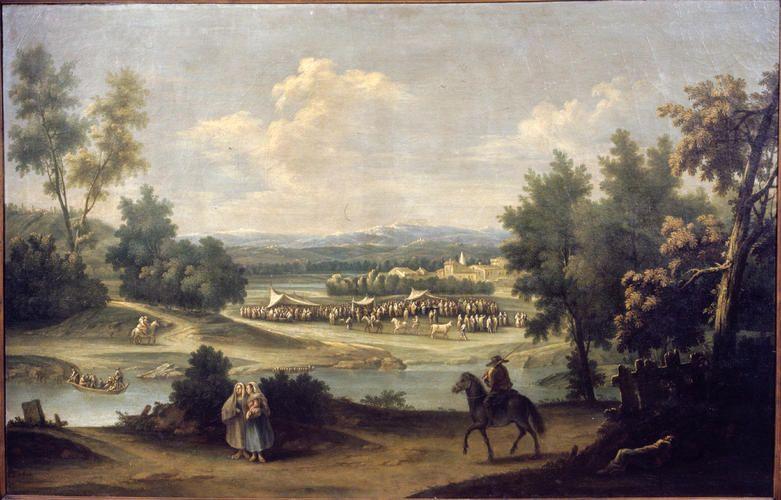 Canal Francesco Antonio - Paesaggio fluviale con fiera contadina - 1790-1799 -  Accademia Carrara di Bergamo Pinacoteca