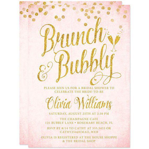 9ba1906818a0 Printed Bridal Shower Invitations - Blush Pink and Gold Brunch   Bubbly  Bridal Shower Invitations -