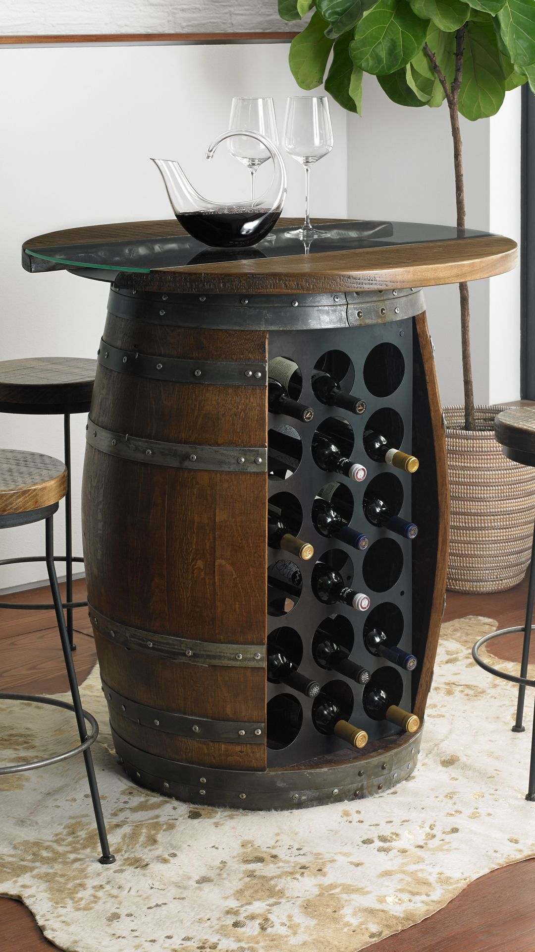 Loire Wine Barrel Pub Table With Glass And Wood Top In 2020 Wine Barrel Table Barrel Coffee Table Wine Barrel Furniture