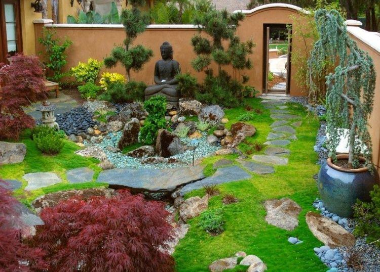 comment amnager son jardin extrieur et crer une ambiance zen avec des plantes vertes arbres exotiques et une statue de bouddha