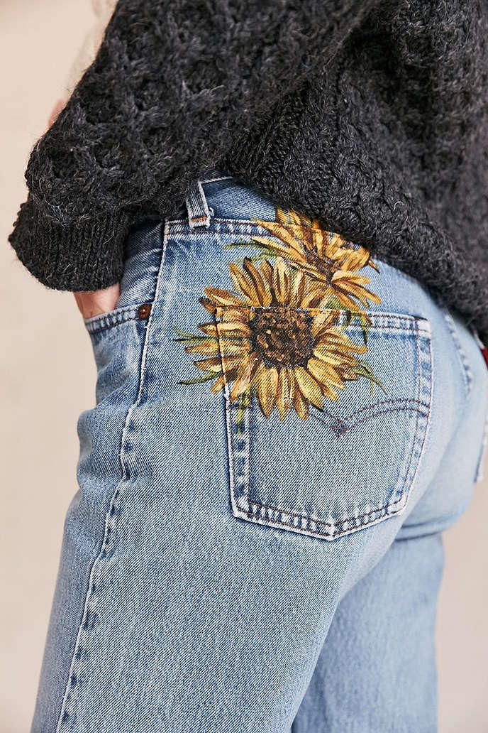 UO Design X Urban Renewal Vintage Levis Painted Sunflower Jean  Urban Outfitters