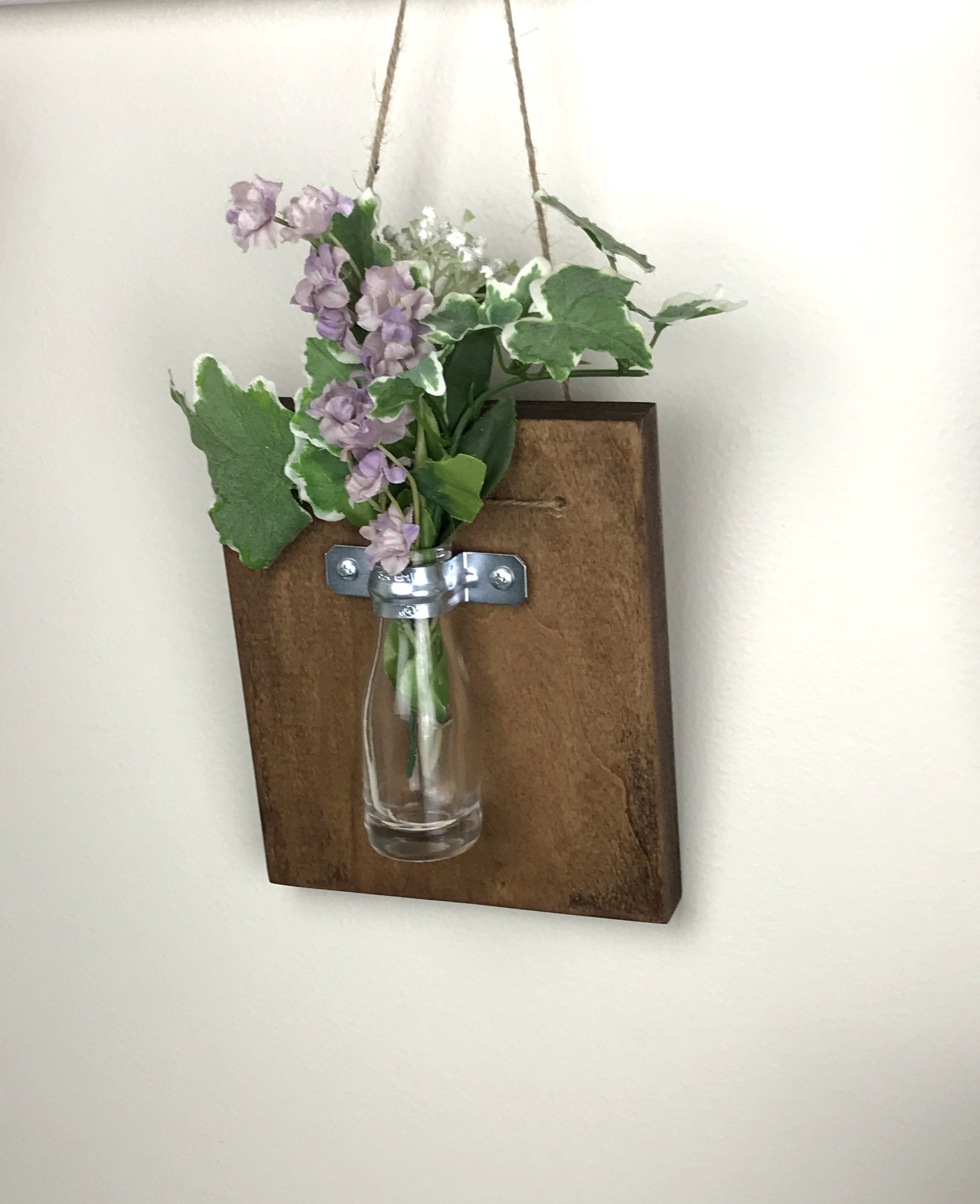 Wall Vase Sconce Farmhouse Wood Wall Vase Hanging Vase Bud Vase Flower Vases Wall Vases Gift For Her Gift Under 20 Housewarming Gift Hanging Vases Wall Vase Decorative Wall Sconces
