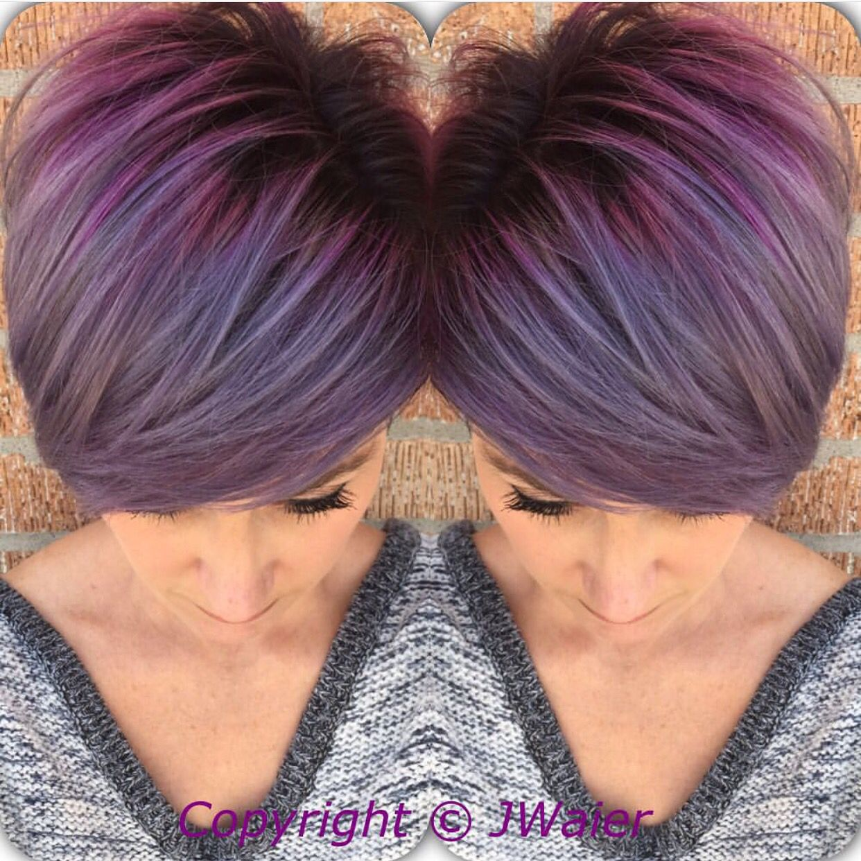 Perfect purple hair color and crop cut by jamie waier pixie cut
