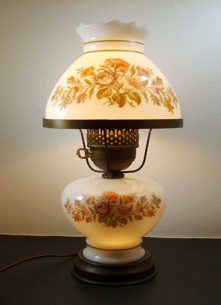 Vtg victorian style flower pattern milk glass hurricane table lamp vtg victorian style flower pattern milk glass hurricane table lamp floralpattern aloadofball Gallery