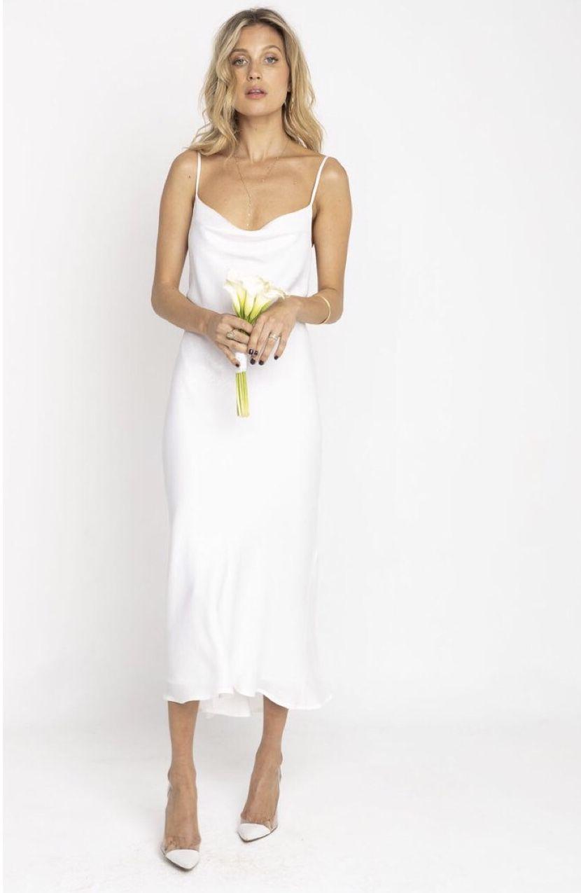 Berri Slip Dress In Ivory Bride Simple Bride Chic Bride Bridal White Dress White Sl Slip Wedding Dress Slip Bridesmaids Dresses Rehearsal Dinner Outfits