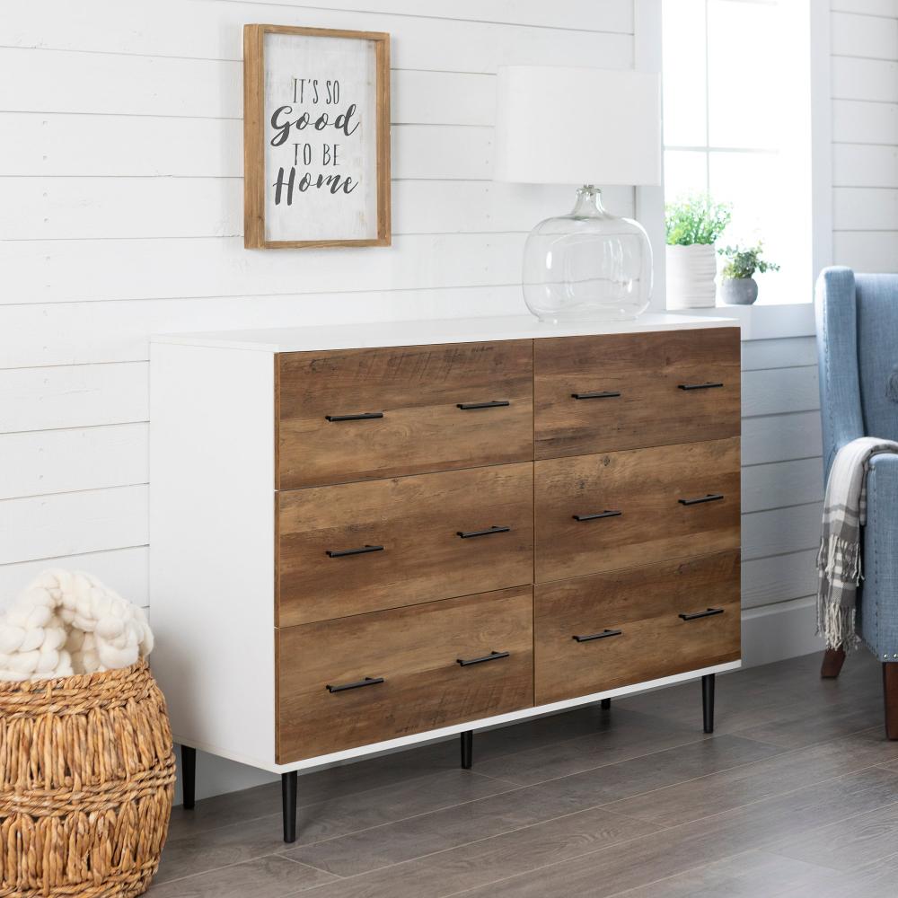 Modern Wood 6 Drawer Chest White And Rustic Oak Savanna Rc Willey Furniture Store Light Wood Dresser Furniture Shabby Chic Dresser [ 1000 x 1000 Pixel ]