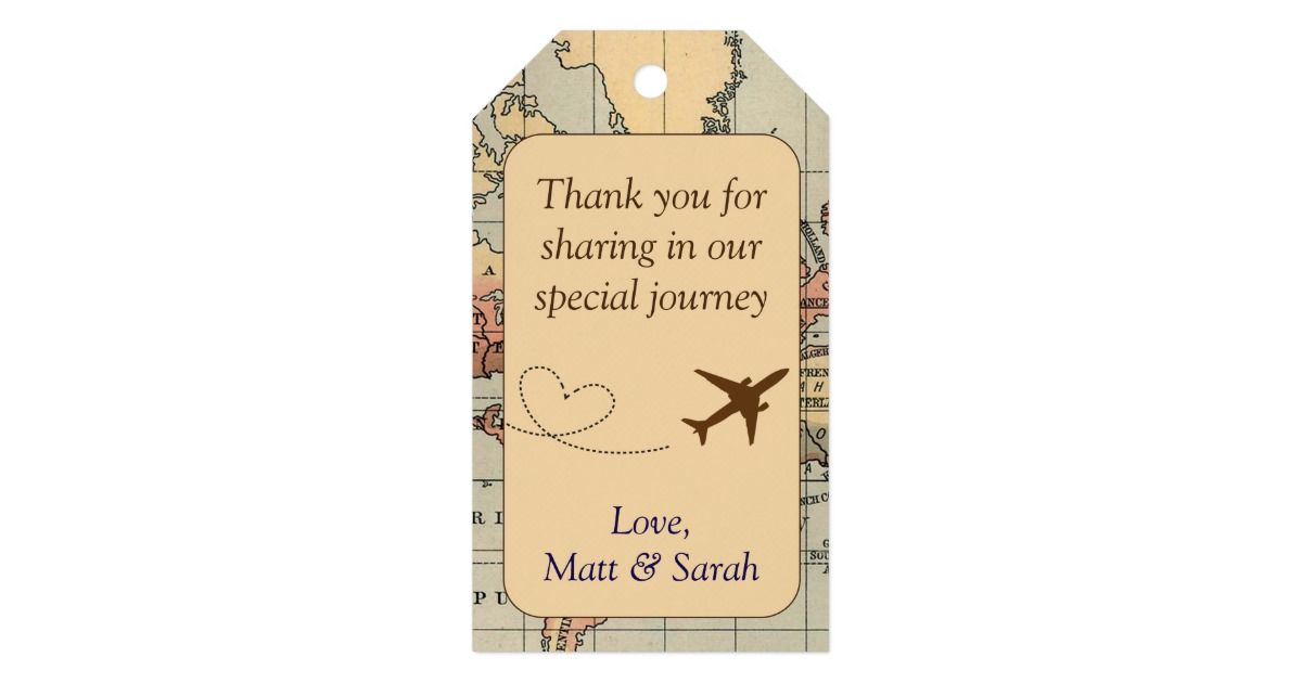 Travel Themed Party Favour Tag Vintage Wedding Gift Tags Party