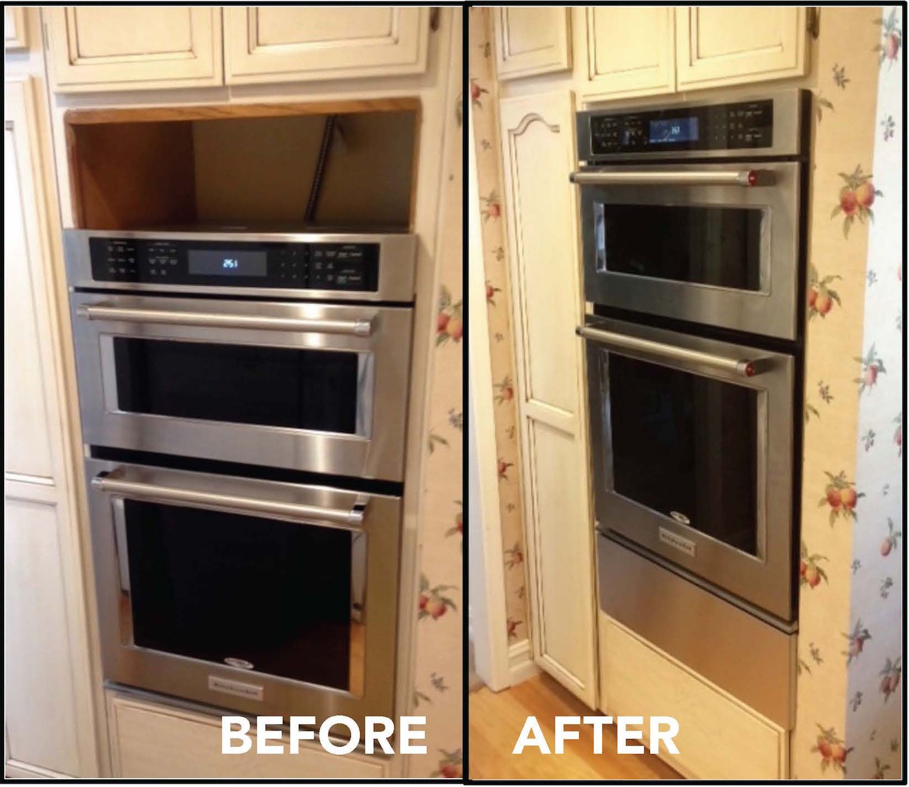 Kitchenaid Wall Oven Filler Strip Before After Wall Oven Wall Oven Kitchen Electric Wall Oven