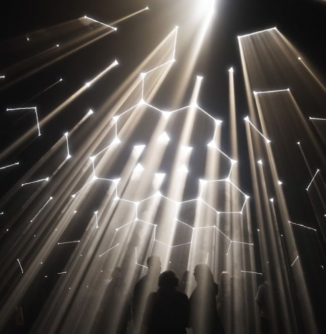 Labyrinths of light filter through the fabric skin of Atmosphere, an immersive installation examining the spatial qualities of light. As the sun's angle changes throughout the day, so do the planes of light inside.