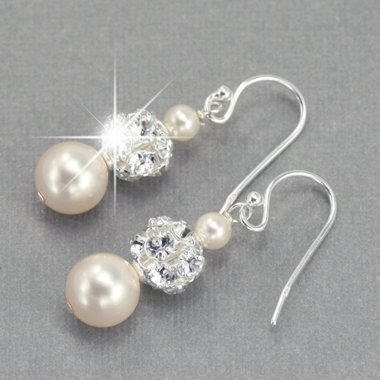 Pearl drop wedding earrings