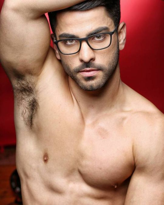 Hairy armpit and chest of a man