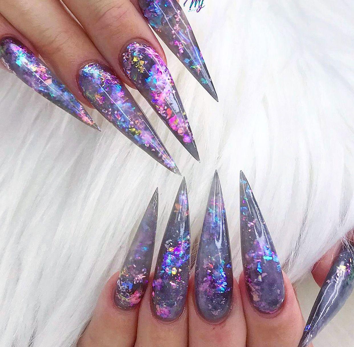 Galaxy Themed Stiletto Acrylic Nails In 2020 Opal Nails Best Acrylic Nails Long Acrylic Nails